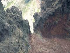 La brèche dans l'arête N du Tafunatu