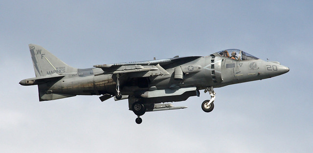 Marine Corps Harrier hovering over Elmendorf - what a cool plane!