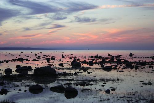 sunset sky water clouds rocks michigan lakemichigan oldmission