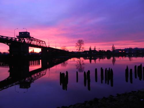 bridge sunset river hoquiam