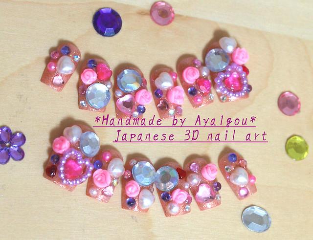 pink Himegyaru nail art