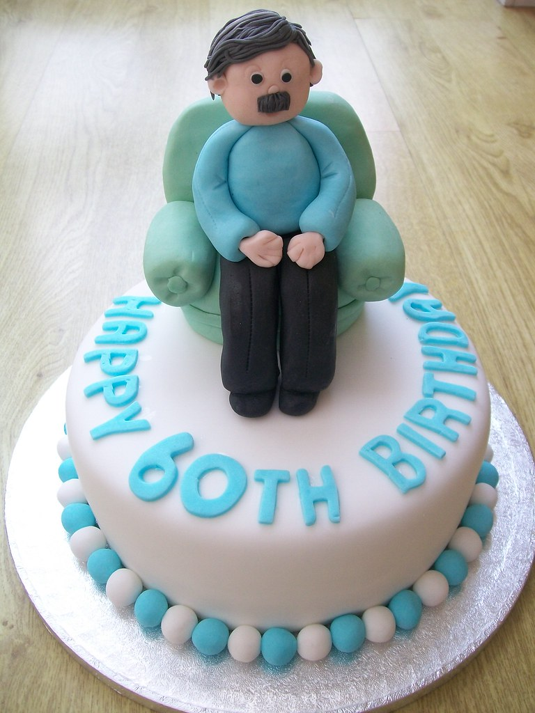 Man In Armchair Cake Topper 60th Birthday Cake Cakeebake Flickr