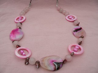 Pink Banded Agate Necklace