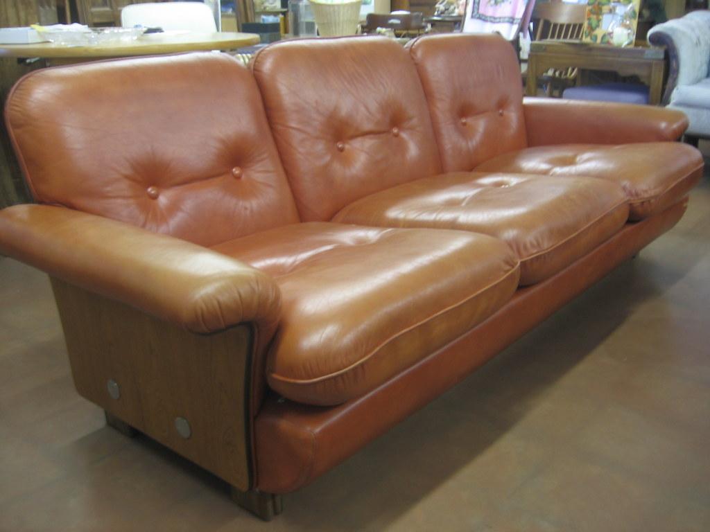 Sold Mid Century Finnish Leather Sofa 86 Long 34 Deep