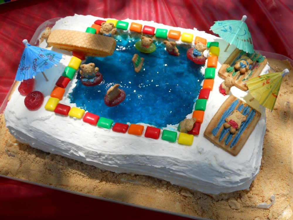 Outstanding Swimming Pool Jello Birthday Cake We Had So Much Fun Makin Flickr Funny Birthday Cards Online Alyptdamsfinfo