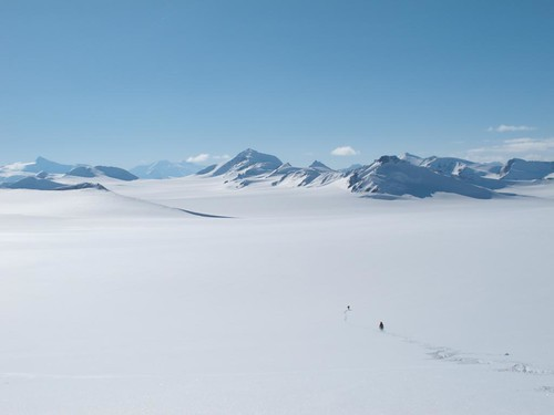 Tue, 2010-05-04 16:49 - Dylan Taylor and Danny Uhlmann crossing the Chisana Glacier on a 100-mile ski/hike from Skolai Pass to McCarthy, Wrangell Mountains, Alaska.