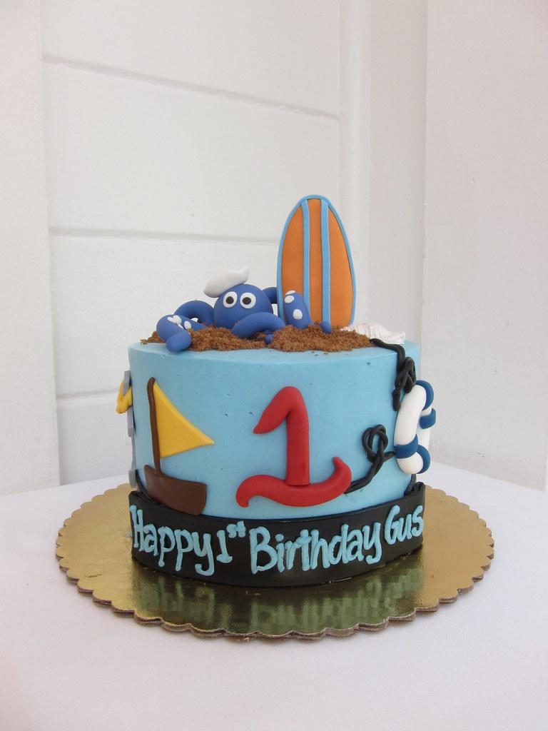 Peachy Beach Birthday Cake Polkadots Olga Flickr Funny Birthday Cards Online Overcheapnameinfo