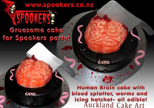 SPOOKERS GRUESOME HUMAN BRAIN BIRTHDAY CAKE