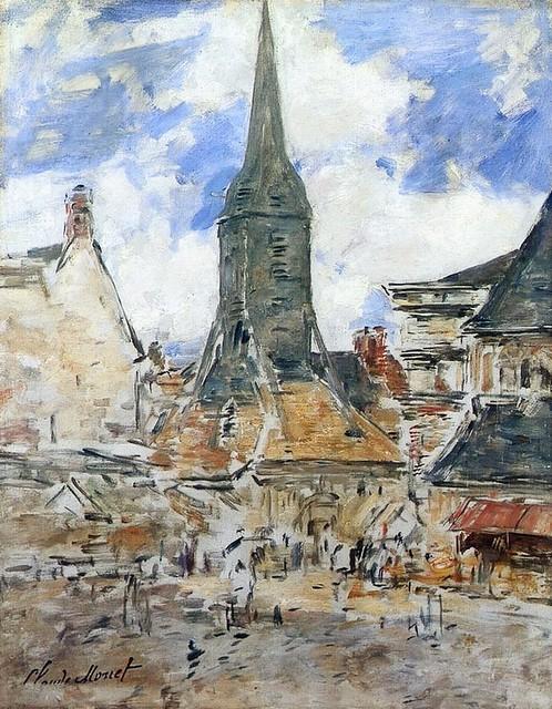 Honfleur, le Clocher sainte-Catherine - estampillé C Monet (E Boudin)