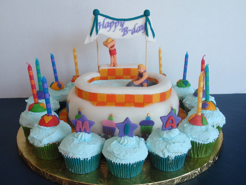 Outstanding Pool Party Birthday Cake Nora Rexach Flickr Funny Birthday Cards Online Inifodamsfinfo