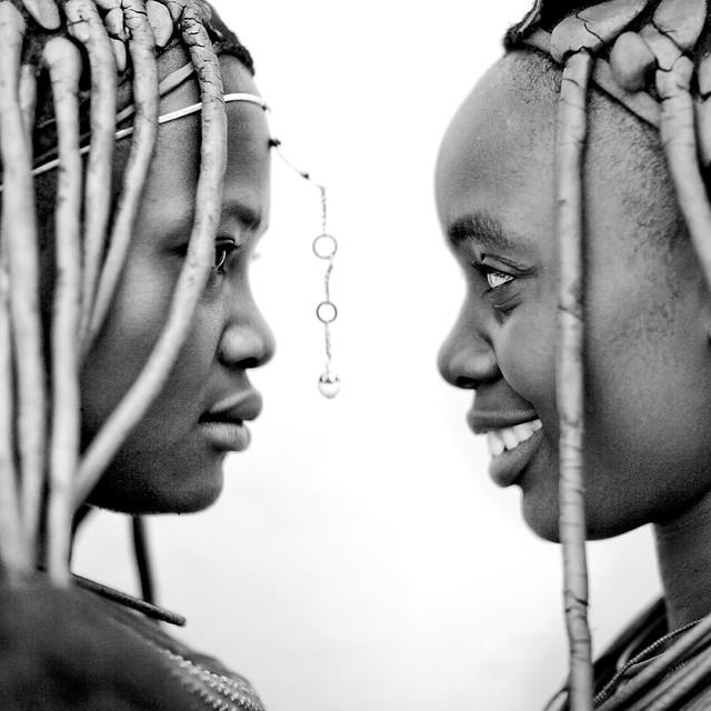 Himbas girls in profile, Angola