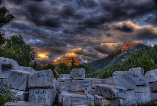 sunset marble colorado 201008 quarry rock industry stone mineral mining mountain clouds crystal mill