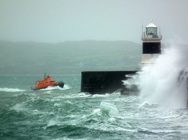 Lifeboat at Holyhead Breakwater, Anglesey Wales