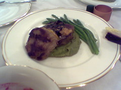 Christmas Eve Dinner: Fillet Steak with miso butter on mashed peas and asparagus | by Mr Miyagi