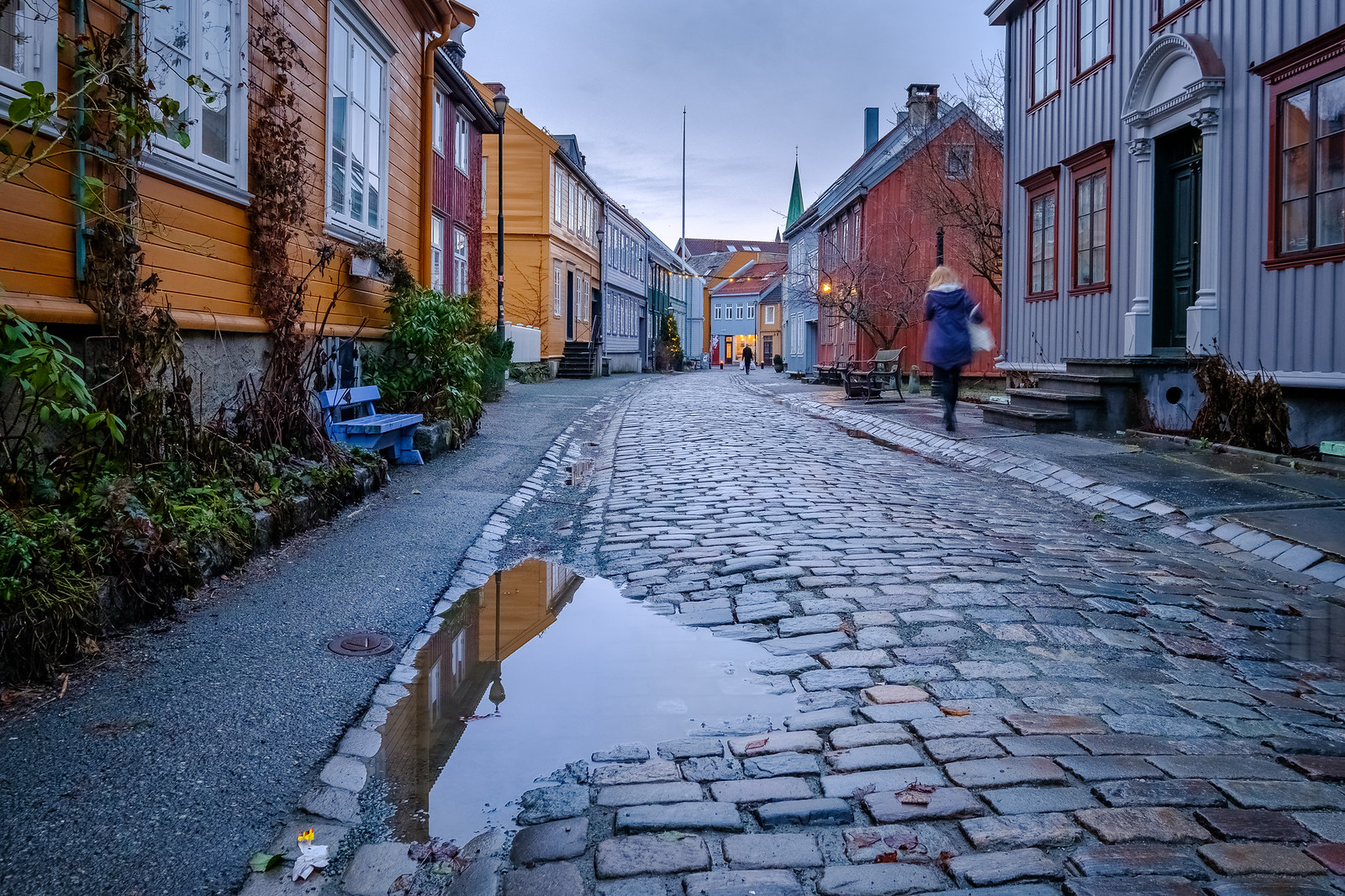A rainy day at Bakklandet in Trondheim