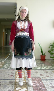 Young Lady in Local Costume, with Sneakers, Kukes, Albania