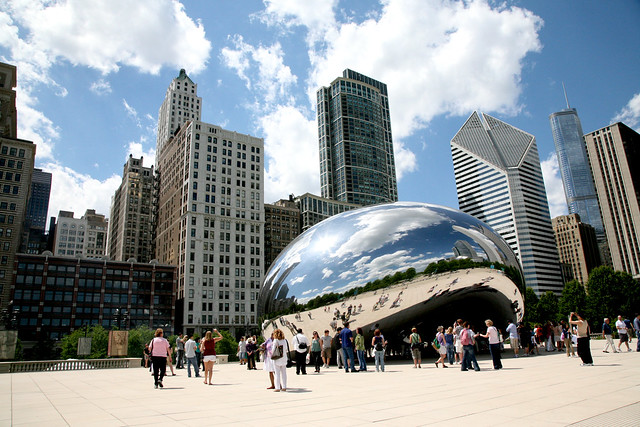 "Chicago (ILL), Millennium Park, Cloud Gate : "" the Bean "" Anish Kapoor 2004-06"