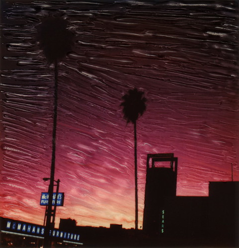 polaroid sx70 sonar emulsion manipulation time zero tz instant film sears laurel canyon blvd boulevard north hollywood los angeles la california ca neon sign lit illuminated sunset department store shop mcmahans furniture palm tree silhouette toby hancock photography