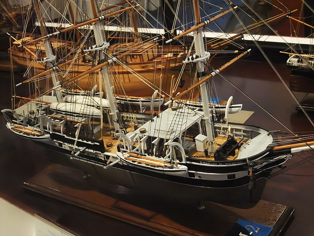 Model of the Whaler Charles W Morgan built in New Bedford Connecticut in 1841 and still afloat at Mystic Seaport CT