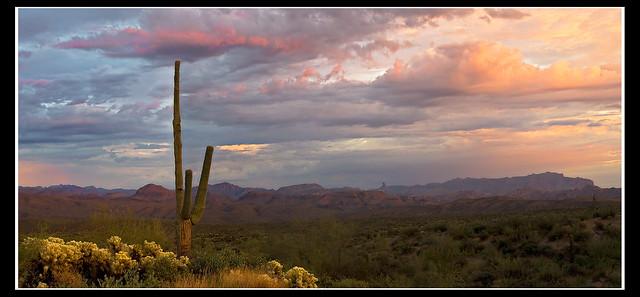 superstition ridge line at sunset