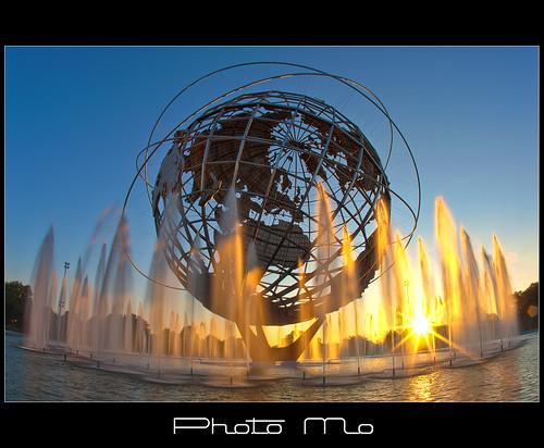 park new york fountain pool sunrise reflecting earth steel tripod meadows landmark fair corona worlds hdr circular stainless unisphere flushing