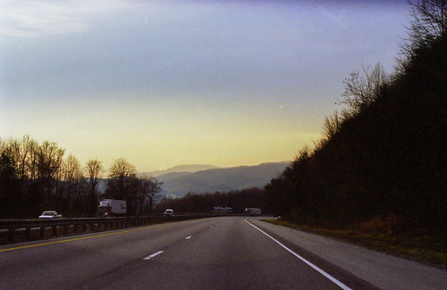blue camping atlanta sunset film 35mm evening driving unitedstates roadtrip expressway ricohxrm