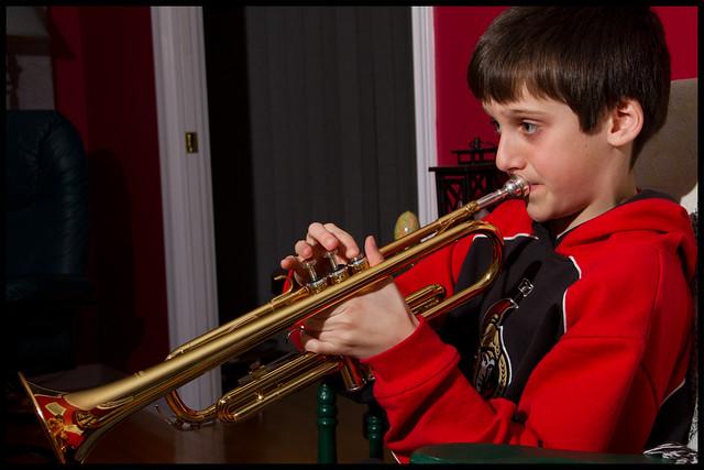Sam Practices his trumpet   Feb 2 2011 4/365