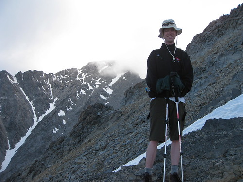 Hyrum, at the turnaround point, sporting the latest gaiters-as-gloves style.