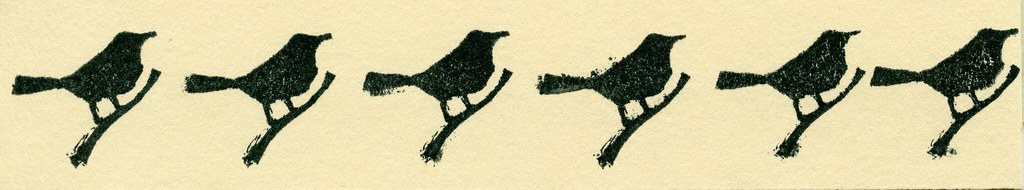 Blackbird Rubber Stamp Print Row of Birds
