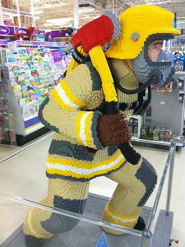 LEGO fireman, life-sized