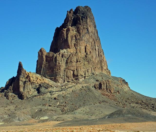 Agathla Peak, an old volcanic plug, seen from the Kayenta side