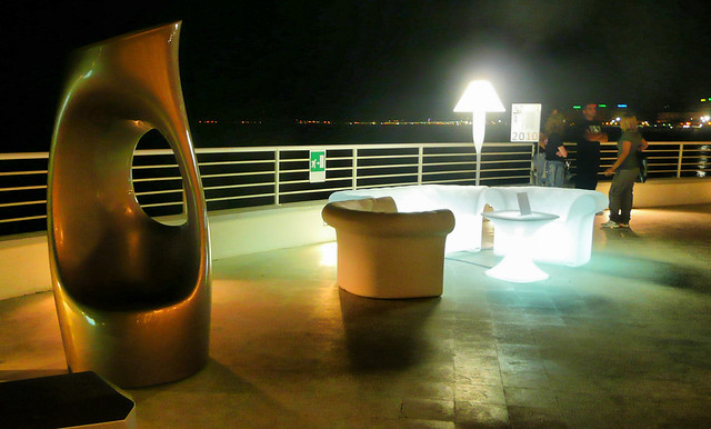 a roundabout on the sea (with Henry Moore art)