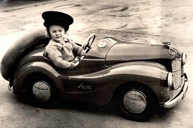 Pauline in her pedal car 1956?