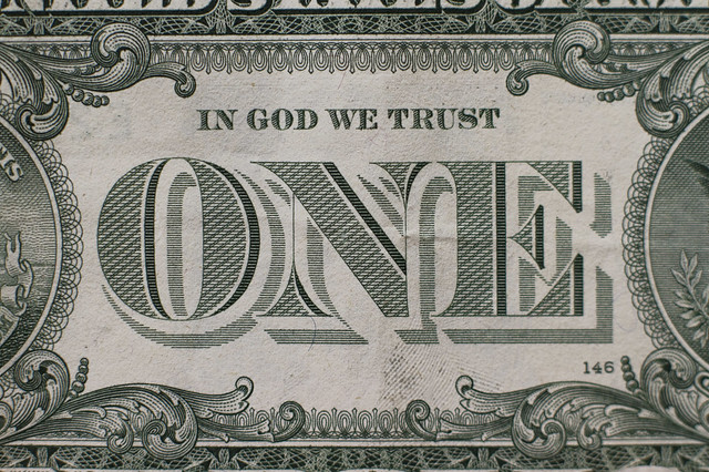 ONE font on a US one dollar bill (2013)