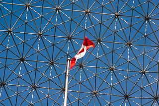 Canadian Flag inside the Montréal Biosphère