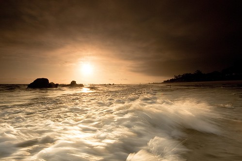 ocean california santa sunset motion beach wet water movement sand rocks waves pacific barbara filter lee carpinteria