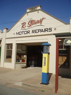 Old Motor Garage with vintage petrol bowser
