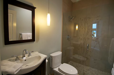 Small Bathroom Remodel with glass shower detail