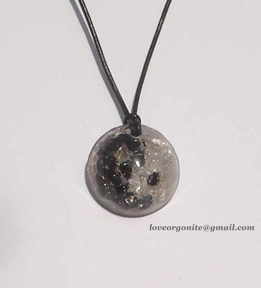 Yin Yang Orgone Pendant made with Hematite, Quartz & Silver leaf