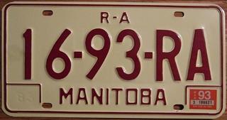MANITOBA 1983-97 SERIES ---REMOTE AREA LICENSE PLATE