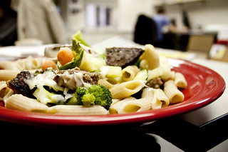Victory Plate featuring bison burger served over vegetables and pasta from Natureworks