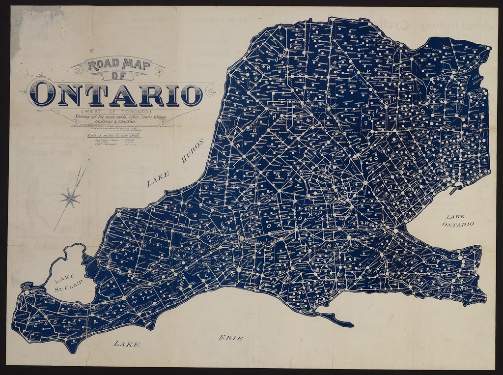 Road map of Ontario (west of Toronto) showing the main roa ...