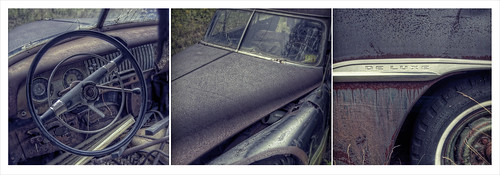 chevrolet abandoned car junk rust triptych antique rusty chevy rusted grime oldcar chevroletdelux patrickcampagnone