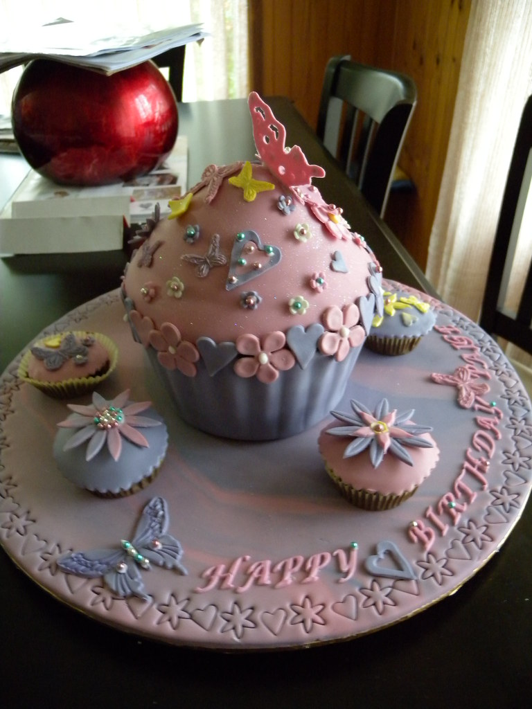 Astonishing Giant Cupcake Birthday Cake Karen W Flickr Funny Birthday Cards Online Fluifree Goldxyz