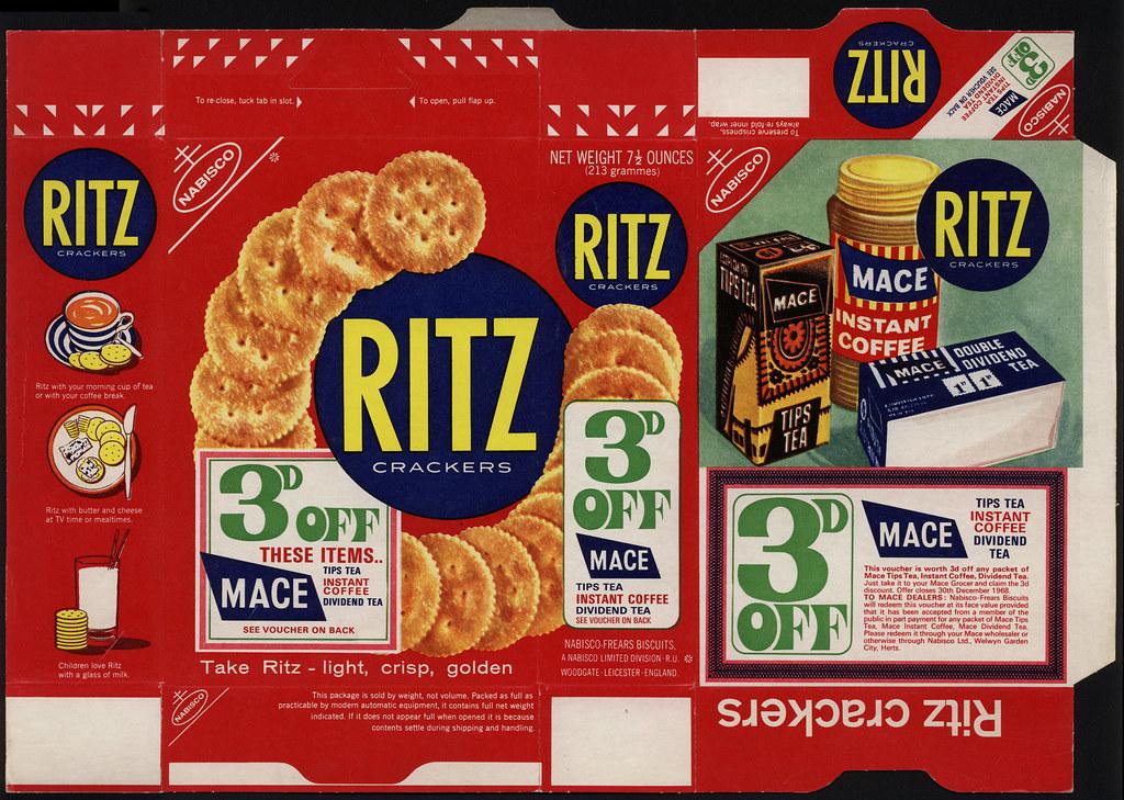 UK - Nabisco - Ritz Crackers - 3d off coupon voucher - box