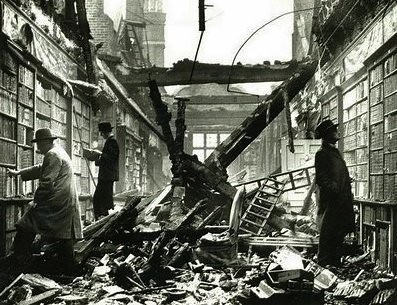 The library at Holland House in Kensington, London, extensively damaged by a Molotov 'Breadbasket' fire bomb. | by Super Furry Librarian