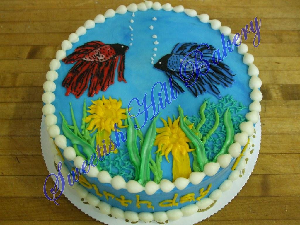 Groovy Beta Fish Birthday Cake Custom Design On An 8 Inch Cake Flickr Funny Birthday Cards Online Alyptdamsfinfo