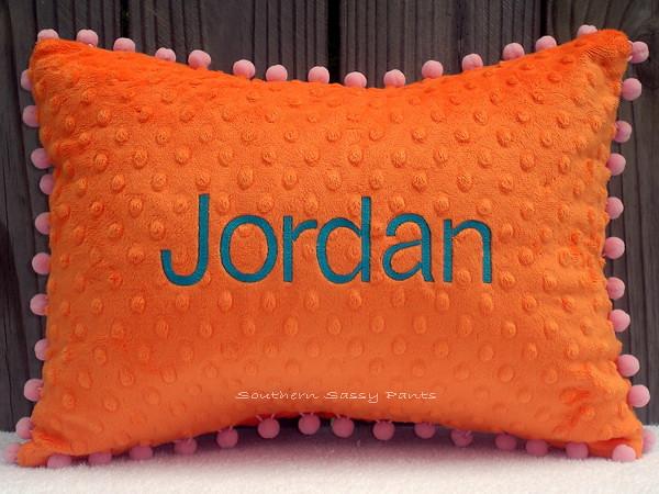 Monogrammed Minky Pillow
