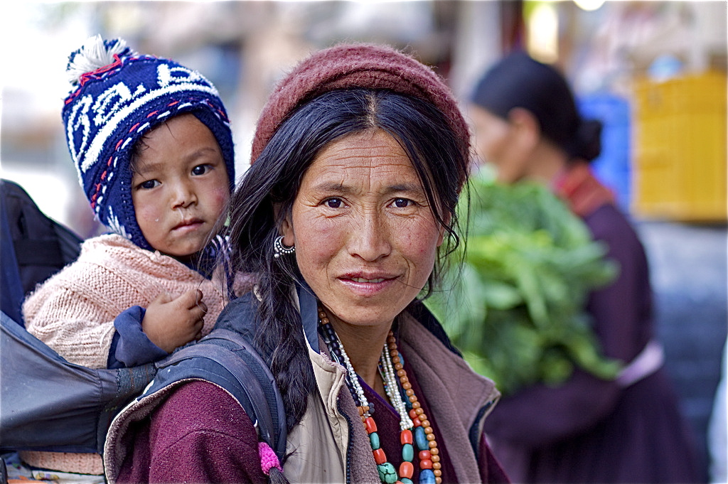 Smiling Mother and Child on the Market of Leh, Ladakh
