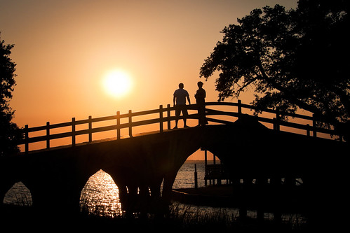 bridge sunset vacation sky orange art silhouette yellow architecture club gold couple footbridge north sound carolina nouveau outerbanks corolla obx currituck whalehead skynoir yahoo:yourpictures=light